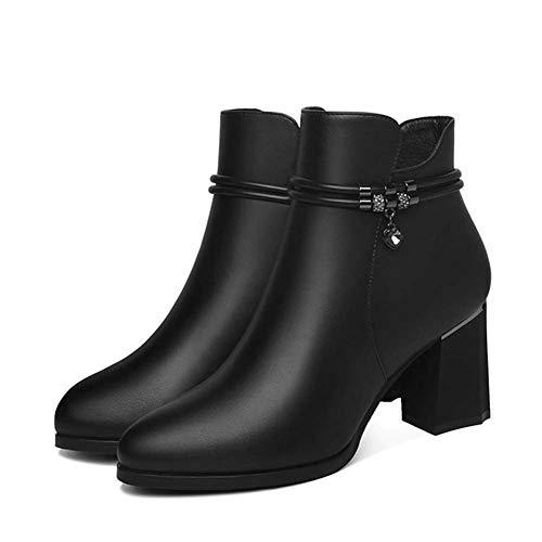 SHOES-YRQ Vrouwen Mode Laarzen Lage hak Elastische Slip op Enkel Booties Martins Laarzen, Zwart, 37