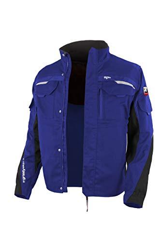 Grizzlyskin Arbeitsjacke Iron Kornblau/Schwarz 46-48 – Unisex Workwear für Damen & Herren, Cordura-Schutzjacke mit vielen Taschen, Outdoor Jacke mit Reflexbiesen