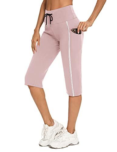 Irevial Pantaloni Sportivi Donna Cotone Pantaloni Cropped Donna Estivi Leggeri con Tasche e Coulisse Pantaloni Tuta Donna Eleganti per Jogger Fitness