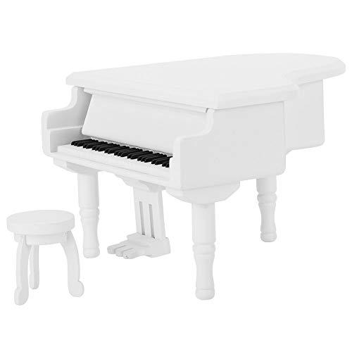 Caja de música Exquisita, 14.6x12.6x9cm Caja de música Piano de Madera (Blanco)