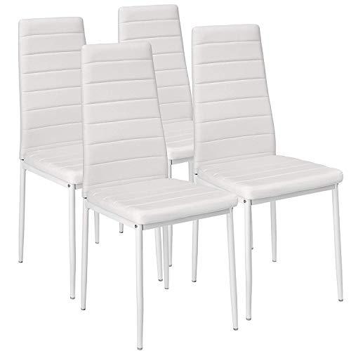 EBS My Furniture Set Sala da Pranzo Tavolo da Pranzo in Vetro Temperato Lucido con Gambe in Metallo e Sedie da Pranzo di Moda Ecopelle (Bianco| 4 sedie)