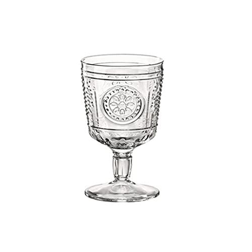 FEANG Copas de Vino Tinto Boca Amplia Vino Copa de Vidrio Jugo de Bebida fría Taza Europea Retro Copa en Relieve cristalino Cristal Claro Vidrio para la Fiesta de la casa -et de 1 Utensilios de Bar