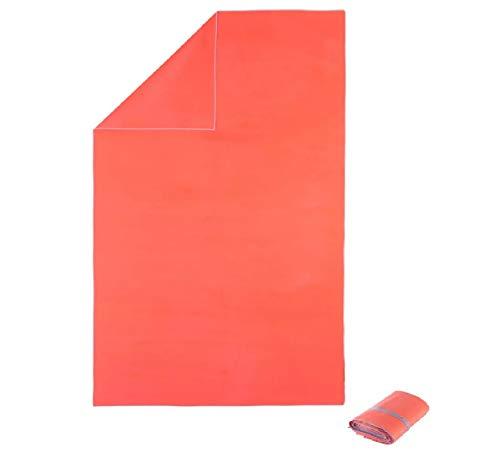 Nabaiji Mikrofaser Badetuch XL ultrakompakt 110 x 175 cm rosa neon/perlgrau sehr hochwertig weich und Wasser-aufsaugend