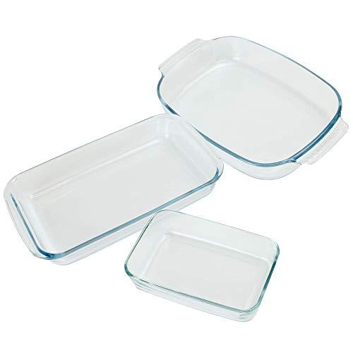 Juego de 3 platos de cocina de horno de vidrio | Bandejas rectangulares para rostizar y hornear | Nevera y congelador | Resistente, duradero y fácil de limpiar | M&W