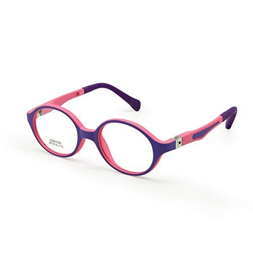 EnzoDate EnzoDate Baby Kleinkind Brillengestell TR90 Größe 37mm Safe Biegsamen Flexible Optische Kinder Kinder Brillen Klare Linsen Federscharnier (Pink Lila)