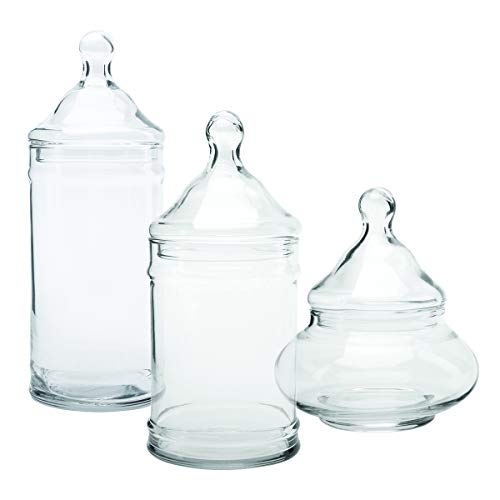 Anchor Hocking Pagoda Apothecary Jars with Lids, (6-piece, mixed sizes, glass), clear, multi