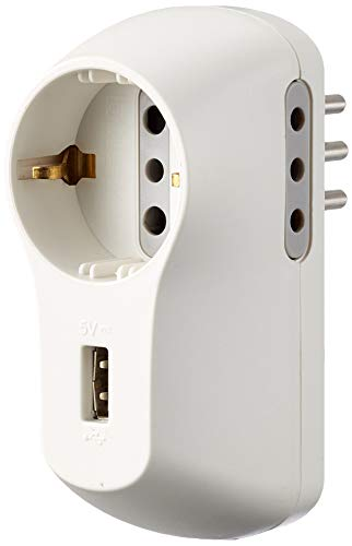 BTicino S3613DU Multipresa Adattatore B3 con Presa USB, 1.5A, 1500 W, 250 V, Bianco