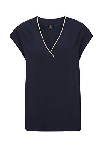 s.Oliver BLACK LABEL Damen T-Shirt mit Schmuck-Detail Navy 38