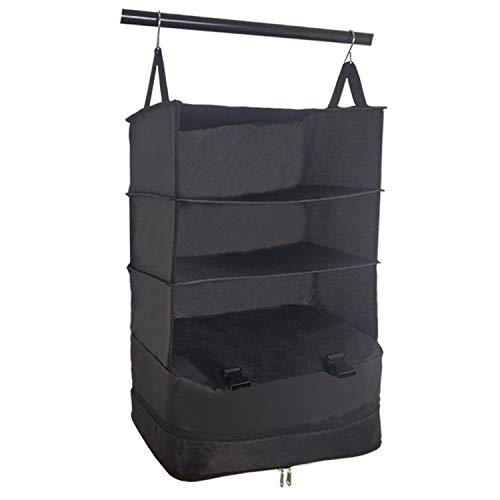 Portable Luggage Shelving System Organizer - Medium size,Packable Hanging Travel Shelves & Packable Organizer Cubes