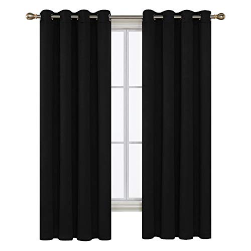 Deconovo Window Blackout Grommet Thermal Insulated Darkening Curtain Panel for Living Room, 52x63 Inch, Black