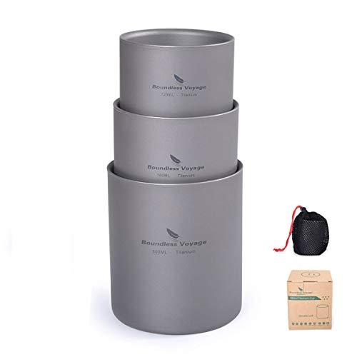 iBasingo 3 in 1 Doppelwandige Titanbecher Mini Isolierte Outdoor Camping Tasse Faltbare Kaffee-Teetassen Leichtes Langlebiges Geschirr für Täglich Gebrauchtes Wandern 120 ml 180 ml 300 ml Ti15155I
