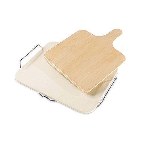 Leifheit rund Keramik Pizza Stein mit mit Tablett und großen Schneide Quadratisch grau