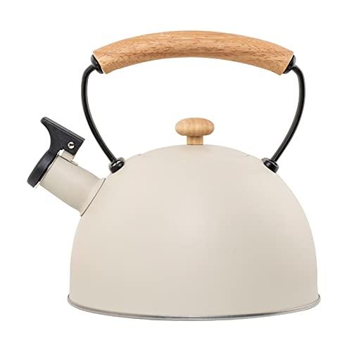 Hervidor de agua con silbato de acero inoxidable de 2,8 l, con asa resistente al calor, hervidor silbato para cocinas de inducción, cocinas de gas, estufa eléctrica de cerámica (color blanco)