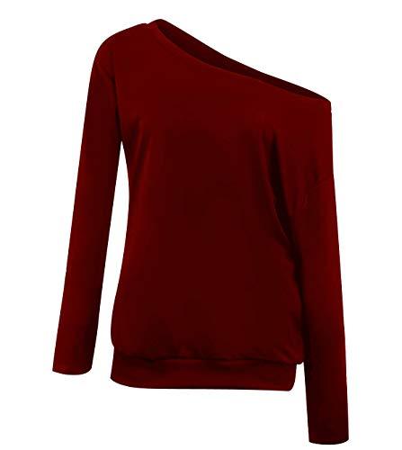 Sudaderas Mujer Sudadera Hombros Descubiertos Chica Oversize Sudaderas Lisas sin Capucha Basicas Casual Anchas Jersey Camisetas Manga Larga Mujer Tallas Grandes Deportivas Bonitas Simples Vino Rojo S