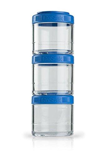 BlenderBottle GoStak Behälter zum Aufbewahren von Protein, Eiweiß, Pulver, Vitaminen und mehr- 3Pak 100ml (3x100ml), cyan