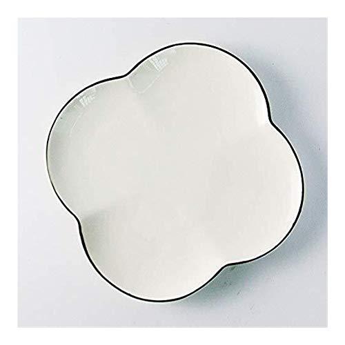 Cuenco de la cultura popular diseño minimalista Nordic en blanco y negro de cerámica plato plato plato en forma de plato de la hornada de aperitivos cerámica bandeja Clover cuenco de la cultura popula