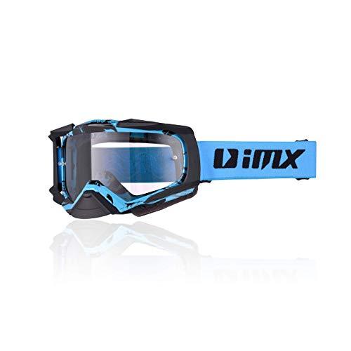 Schutzbrille IMX DUST | Dunkler Rauch + klares Visier | Antifog- und Anti-Scratch-Linse | Nasenschutz | Dreischichtschaum | Zwei Visier Set | Motocross Enduro MTB Downhill MX