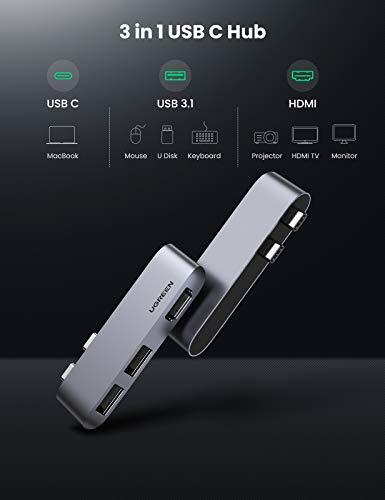 UGREEN Mini USB-C Hub HDMI Adapter kompatibel mit MacBook Pro, MacBook Air USB C Adapter mit 10Gbps USB 3.1, 4K HDMI