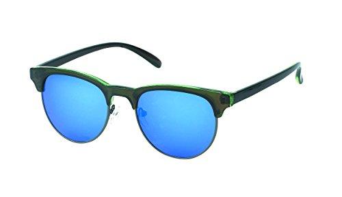 Chic-Net des Lunettes de Soleil rétro Rondes de Style Sun Glasses Bleu 400UV Cadre épais Top Cat Oeil