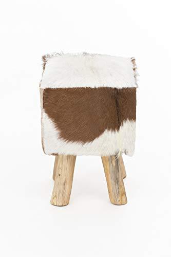 INDEX LIVING Design geitenvacht kruk teakhouten kruk houten kruk bont hout kubuskruk