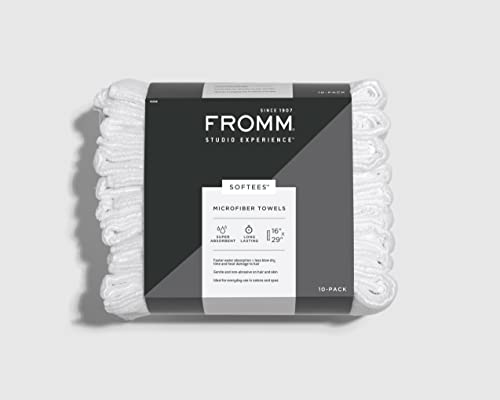 """Fromm Softees Microfiber Towels – 10 Pack – Fast Drying Towel for Hair, Hands, Face – Use at Home, Salon, Spa, Barber, as Car Cleaning Rag – 16"""" x 29"""", Extra Durable & Absorbent, White, 45048"""