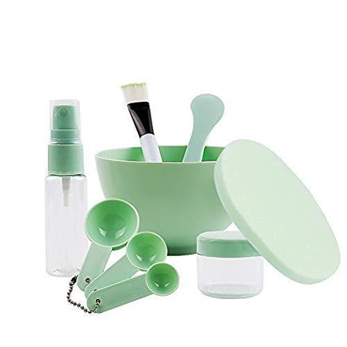 OUkAIDE Bol à mélanger 9 en 1 pour masque facial Grand bol pour masque - Spatule - Jauge de trempage et vaporisateur - Pour femme - Kit d'outils de soins du visage - Grand bol (rose)