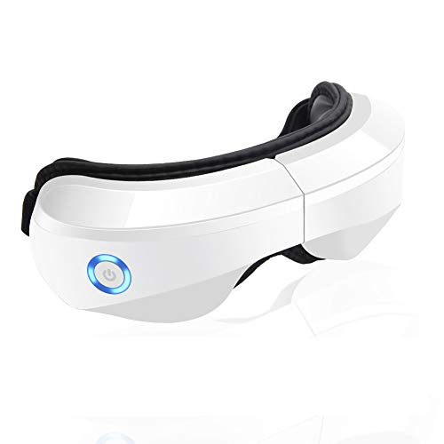 Electric Eye Massager with Heat, Air Compression, Vibration and Music, Wireless Eye and Temple Massager for Relieving Dry Eyes, Eye Fatigue, Improving Blood Circulation and Sleep Quality