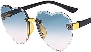 DEALBUHK - DEALBUHK Niño Lindo del Marco del corazón sin Montura de Las Gafas de Sol for niños Los niños de Rosa Gris Lente roja Moda Niño Niña protección UV400 Eyewear diseño de Moda (Lenses Color : C6 Green)