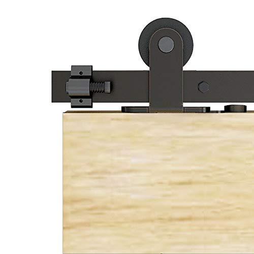 TSMST 152cm Schiebetürsystem Komplett Set für Schiebetüren Schwarz Schienen Kit Passend für eine einzelne Holztür,T-Form