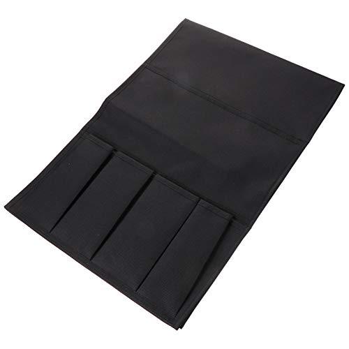 DOITOOL Organizador de mesita de noche para guardar sillón, sofá, reposabrazos, para tableta, revista, teléfono, libros, bolsillo negro