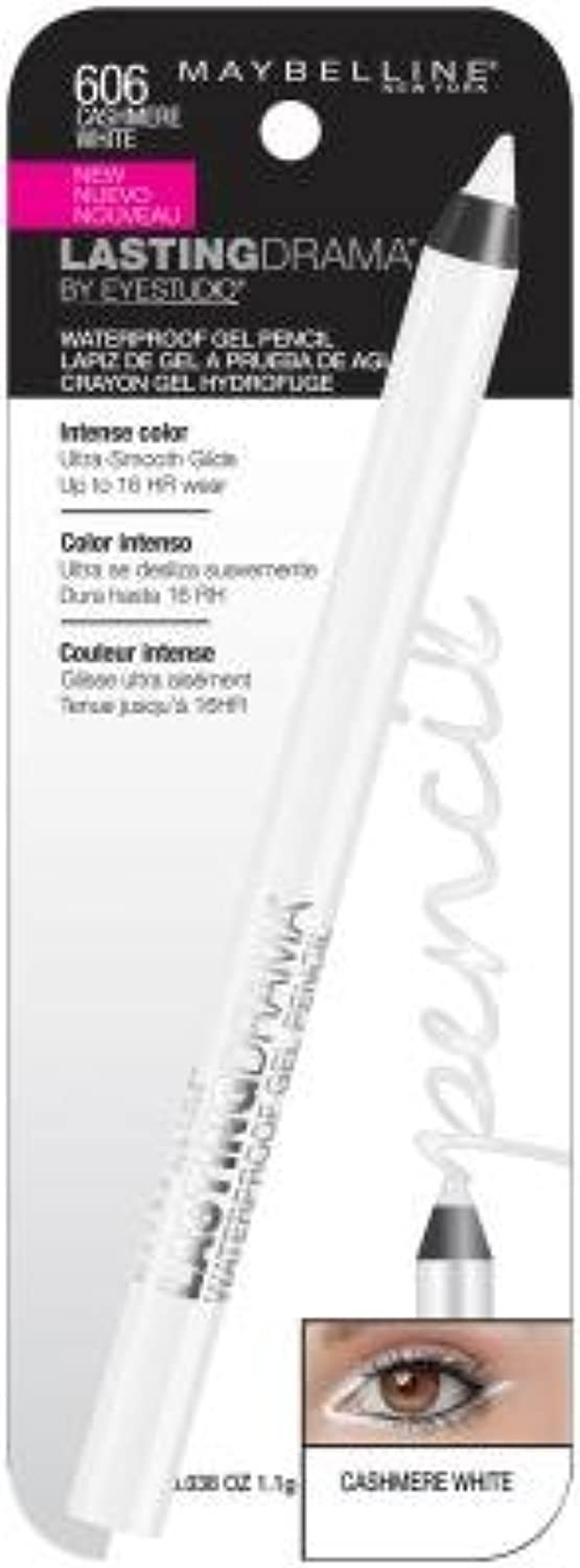 Maybelline Eye Studio Lasting Drama Waterproof Gel Pencil, Cashmere White 0.04 oz (Pack of 3)
