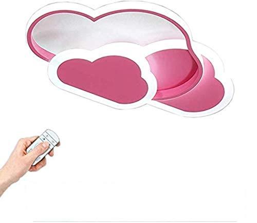 Lámpara de techo creativa con forma de nube con control remoto regulable, luz de techo acrílica, montaje empotrado para sala de estar, habitación de niños, 52 cm (20,5 pulgadas) 42 Wrosa