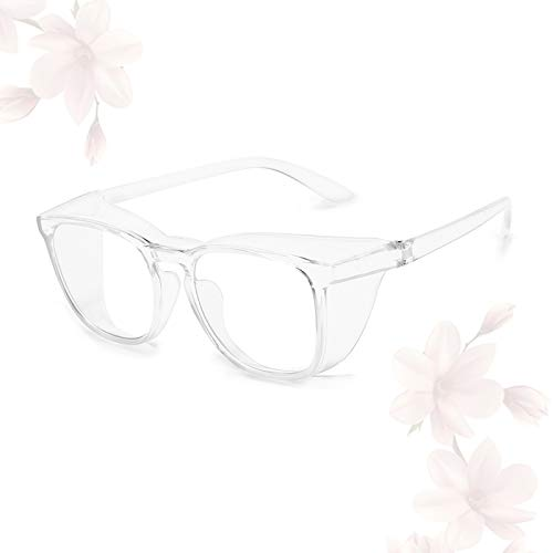 MMOWW Gafas de seguridad: gafas de protección antivaho y cortavientos con pantallas laterales, encima de gafas de trabajo o personales (claro).