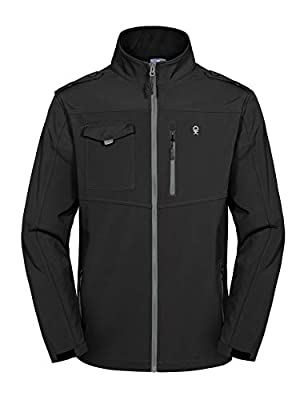Little Donkey Andy Men's Fleece Lined Softshell Jacket, Lightweight Tactical Jacket, Water Repellent, Breathable Black S
