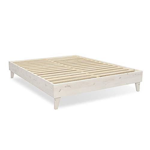 eLuxurySupply Wood Bed Frame - 100% North American Pine - Solid Mattress Platform Foundation w/Pressed Pine Slats - Easy Assembly - King