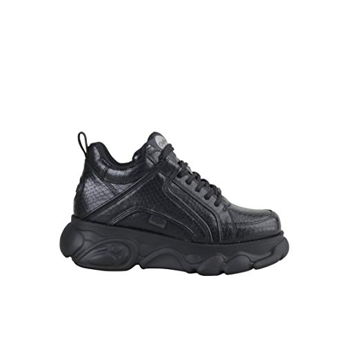 Buffalo Damen Sneaker CLD Corin, Frauen Low Top Sneaker, Halbschuh schnürschuh strassenschuh Sneaker dad-Shoe,Schwarz(Snake Black),37 EU / 4 UK