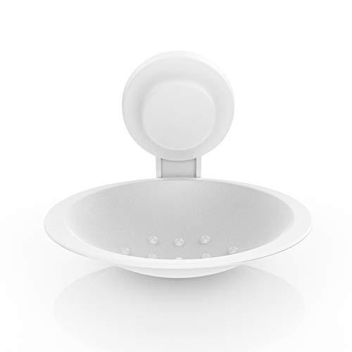 LEVERLOC Seifenschalehalter mit Saugnapf Seifenschale ohne Bohren BadSeifenhalter Wandmontage Seifenschale Dusche Saugnapf, Abnehmbar Seifenkorb für Badezimmer Küche -Kunststoff in Weiß
