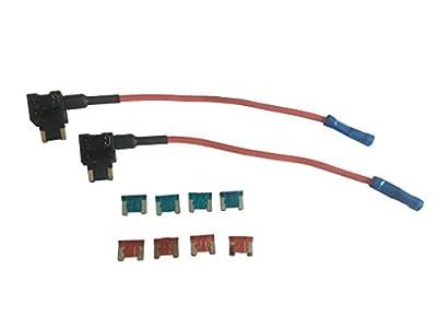 KOLACEN Automotive Car Truck 2 Pieces 16 Gauge Add-a-Circuit Fuse TAP Adapter for Blade Type Fuse + 8 Pieces Fuse 5Apm 7.5Apm 10Apm 15Apm