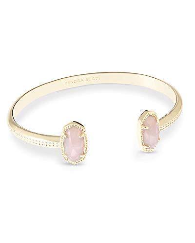Kendra Scott Elton Cuff Bracelet for Women, Fashion Jewelry, 14k Gold-Plated, Rose Quartz