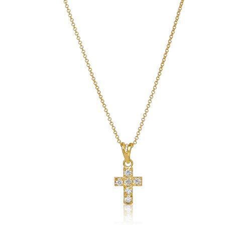 Nanna Folk Collar Cruz Plata de Ley, Mujer chapada en Oro 18 k, Colgante Cruz Plata 925 con circonitas, Mujer o niña, Regalos Originales, comunión, religioso, confirmación