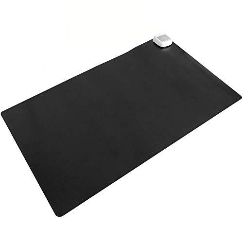 PrimeMatik - Alfombra y Superficie térmico con calefacción para Escritorio Suelo y pies de 60 x 36 cm 65W Negro