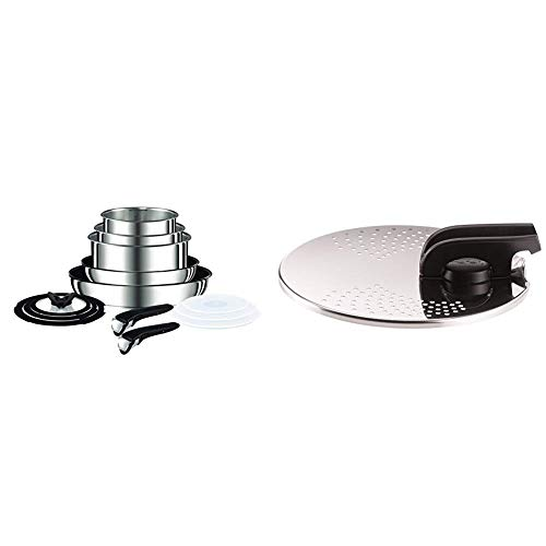 Tefal Ingenio Pots and Pans Set, Stainless Steel, 13-Piece, Induction, with Red or Black Button, L9409042