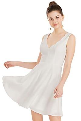 Apperloth Women's Solid Dress Half Sleeve Scallops Neck High Waist Cocktail Party Skater Dresses