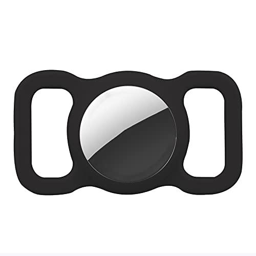 Schutzhülle kompatibel für Apple AirTag, GPS Tracking Hund Katze Halsband Zubehör Haustier Loop Halter Silikon Schutzhülle leicht weich kratzfest Anti-Verlust (schwarz 1 Stück)