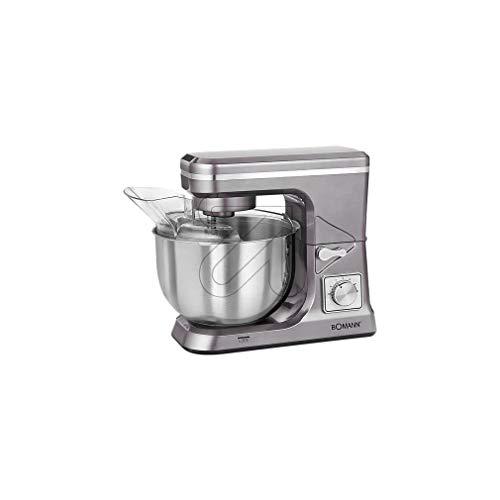 Bomann KM 1395 CB Robot de Cocina Multifunción, Batidora Amasadora, 1200 W, 6.2 litros, Titanio