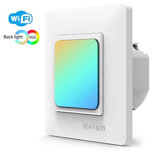 [UPGRADED] Waligh eLighter - Smart Wlan Lichtschalter und Smart LED Hintergrundbeleuchtung, kompatibel mit Alexa und Google Home, 2in1 WiFi Wandschalter unterputz, Timing Funktion, Überlastschutz