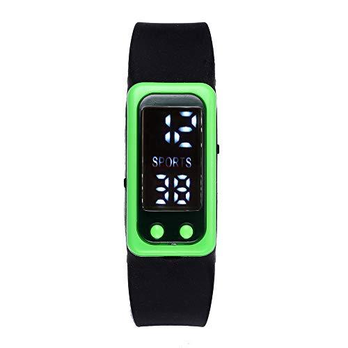 Winkey Sportuhr für Damen und Herren, Schrittzähler, Kalorienzähler, digitales LCD-Display, Grün
