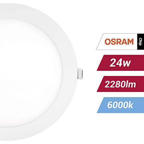 POPP- (Pack x 2 ) downlight led Placa LED redondo,24W luz fria chip OSRAM (6000K, 24W)[Clase de eficiencia energética A+]