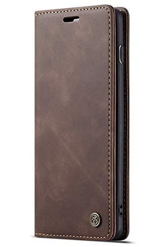 Handyhülle, Premium Leder Flip Schutzhülle Schlanke Brieftasche Hülle Flip Case Handytasche Lederhülle mit Kartenfach Etui Tasche Cover für Samsung Galaxy,Samsung Galaxy S10,Braun