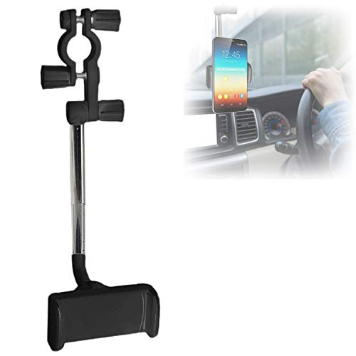 360° Rearview Mirror Phone Holder, Car Rearview Mirror Mount Phone and GPS Holder, Retractable Universal Car Rearview Mirror Mount Phone Holder, for 47mm-71mm Wide Mobile Phones (Black)